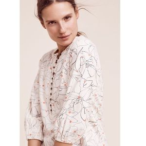 Anthropologie Maeve Cream Floral Thermal Top